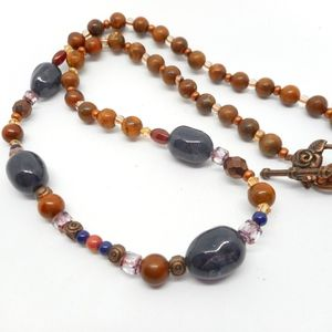 Wood Copper Dark Blue Bead Necklace